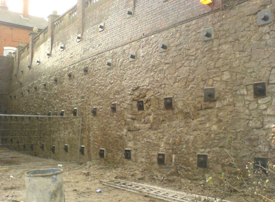 Soil nails leicester care home retaining wall aarsleff for Soil nail wall