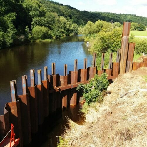 Stourport, Severn, Sheet Pile Cofferdam, Aarsleff
