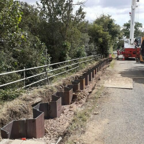 Sheet Piled Retaining Wall in Upper Dean, Bedford