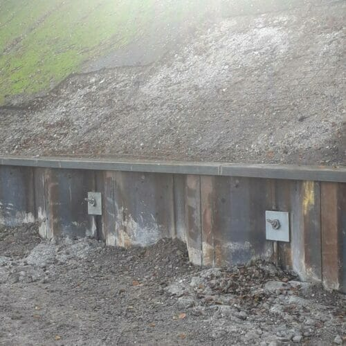 Anchored Sheet Piled Retaining Wall installation in St. Albans